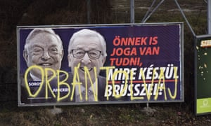 A billboard by the Hungarian government attacking EU commission president, Jean-Claude Juncker, and financier George Soros.
