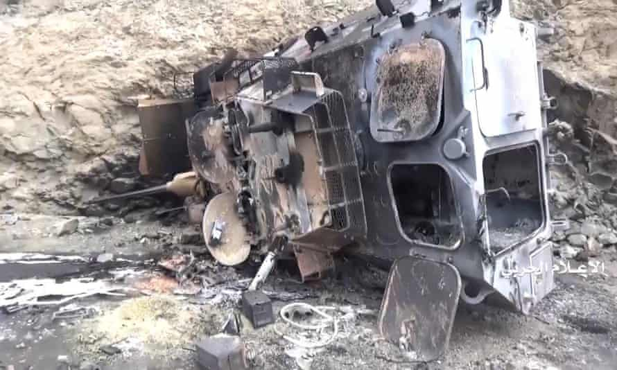A screengrab purports to show a burned-out Saudi military vehicle