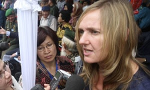 Liesbeth Zegveld talks to the media during a commemoration in West Java, Indonesia, in 2011