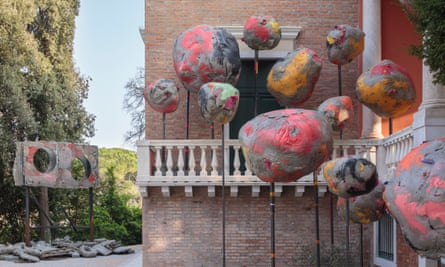 Boulders wearing makeup ... the exterior sculpture of Folly by Phyllida Barlow.