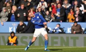 Harvey Barnes celebrates his goal against Chelsea in February.