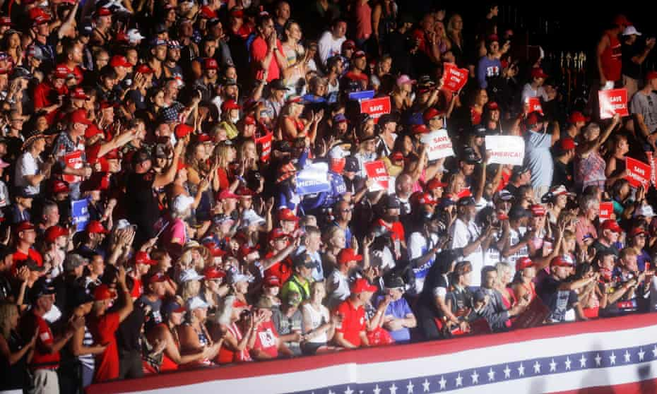 Supporters of former president Donald Trump attend a rally held at the Sarasota Fairgrounds, the winter quarters of the Ringling Brothers and Barnum & Bailey circus.