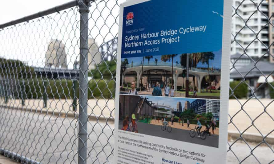 The northern Harbour Bridge bike ramp remains an artist's impression on a sign.