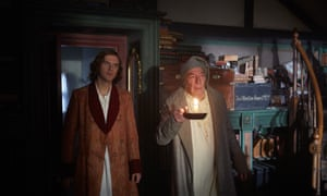 Dan Stevens as Dickens and Christopher Plummer as Scrooge in The Man Who Invented Christmas.