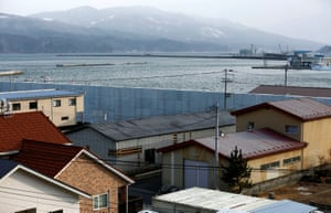 Residential houses and commercial buildings near a sea wall at a port in Miyako