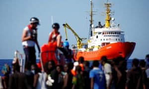 The Aquarius rescue ship during a rescue operation in the Mediterranean Sea in September 2017