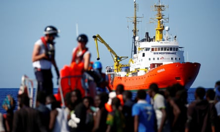 Aquarius rescue ship, with rescued refugees off the Libyan coast