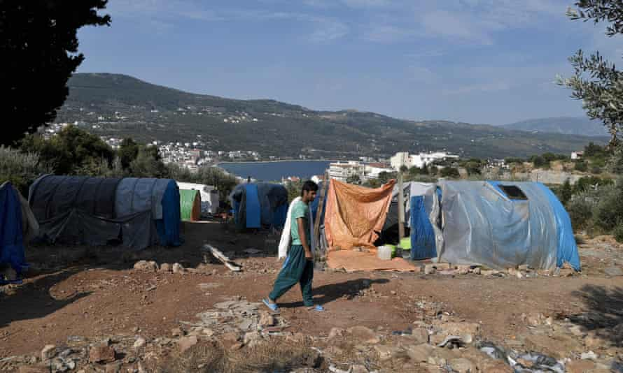 A makeshift refugee camp above the city of Vathy on the Greek island of Samos
