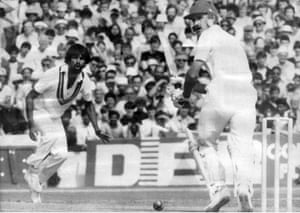 Chris Tavaré facing Rashid Khan on his way to 58 off 116 balls against Pakistan in the 1983 World Cup