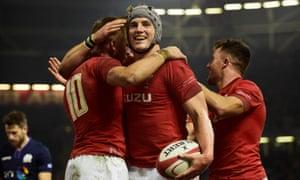 Wales' Jonathan Davies celebrates after scoring.