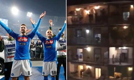 Napoli fans in coronavirus quarantine sing 'Un Giorno All'Improvviso' from balconies – video