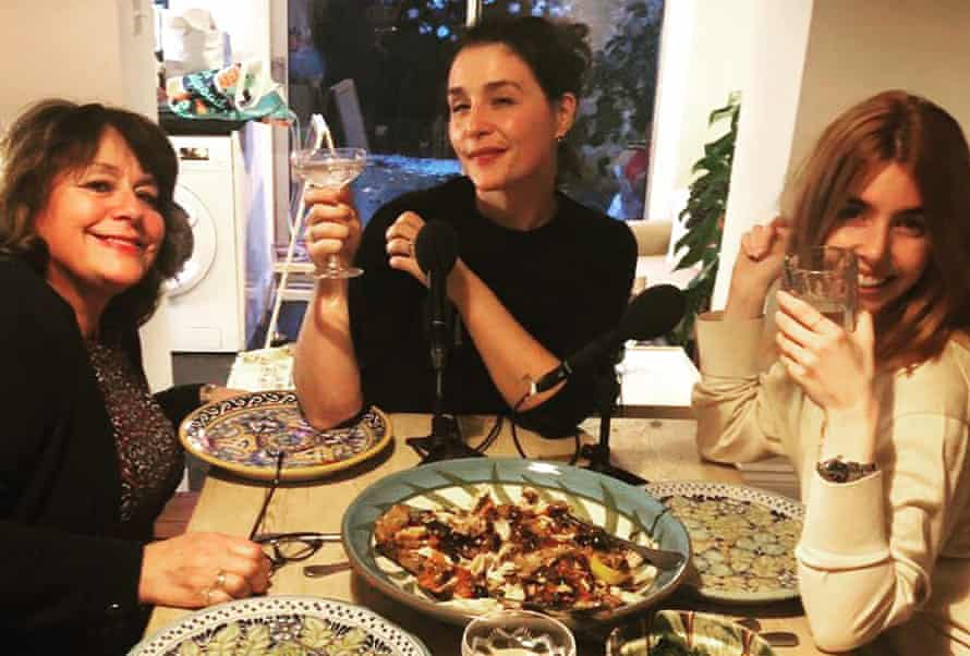 Jessie Ware and her mum Lennie recording an episode of their podcast Table Manners with TV presenter Stacey Dooley