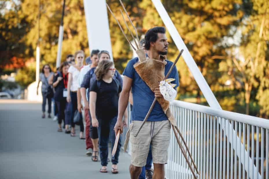 Whadjuk Noongar performer Ian Wilkes leads a walking tour of Lake Galup