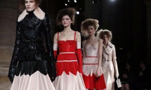 Models in an Alexander McQueen fashion show