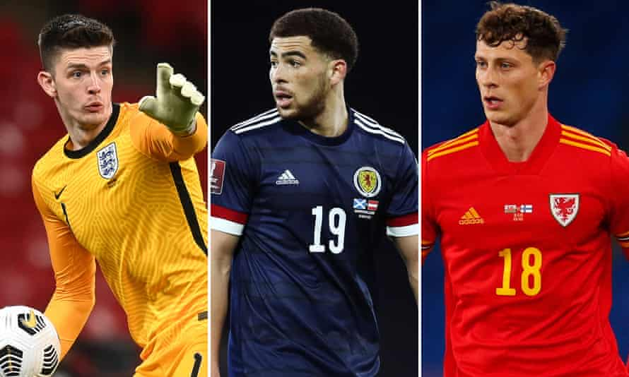 England's goalkeeper Nick Pope, the Scotland striker Che Adams and the Wales defender James Lawrence.