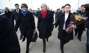 Theresa May with British ambassador to China Barbara Woodward after arriving in Wuhan.