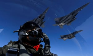 F-15 fighters as seen from the cockpit