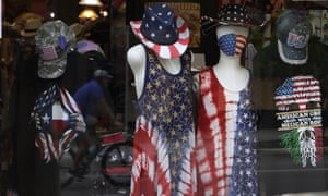 The window of a store selling patriotic clothing including face masks on 1 June, 2020, in San Antonio, Texas.