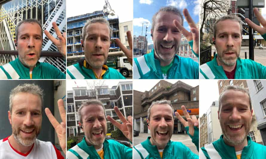 Selfies taken by Max Rushden after he has finished a run.