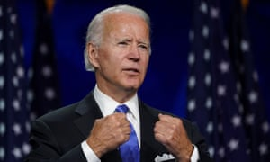 Former vice-president Joe Biden accepts the Democratic presidential nomination during a speech delivered virtually in Wilmington, Delaware, on Thursday.