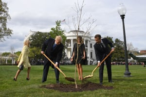 Donald and Melania Trump participate in the tree-planting ceremony with Emmanuel and Brigitte Macron.