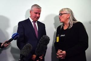 Janine Hendry (right) addresses Deputy Prime Minister Michael McCormack