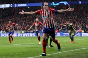 Diego Godin of Atletico Madrid celebrates after scoring the second goal of his team.