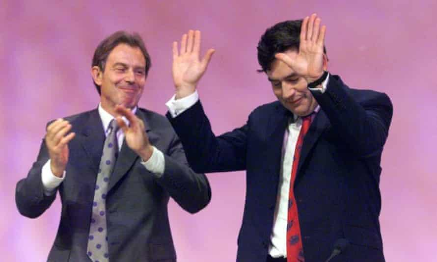 Tony Blair applauds Gordon Brown's speech at the 1999 Labour party conference in Bournemouth