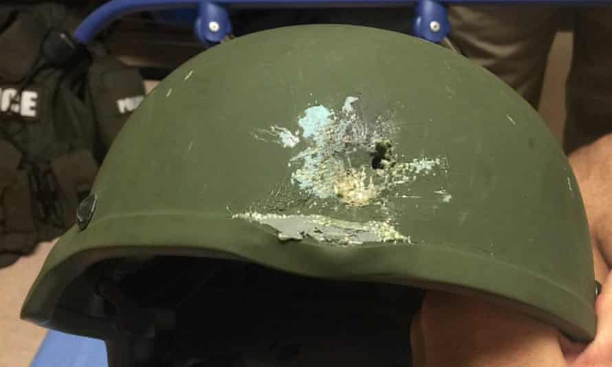 A handout photograph posted by the Orlando police department on Twitter: 'Pulse shooting: In hail of gunfire in which suspect was killed, OPD officer was hit. Kevlar helmet saved his life.'
