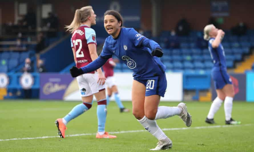 Sam Kerr celebrates scoring the first of her three goals for Chelsea in their victory over West Ham at Kingsmeadow