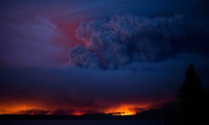The massive wildfire raging near Anzac, a hamlet 48km southwest of Fort McMurray.