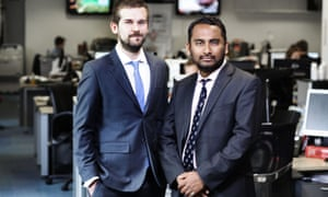 The final editor of the Independent, Amol Rajan, right, with Oliver Duff, editor of the i.