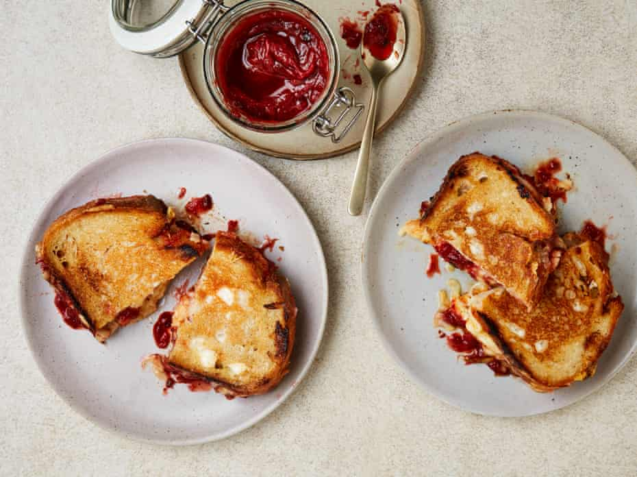 Yotam Ottolenghi's rhubarb, chipotle and lime jam (in a cheese toastie).