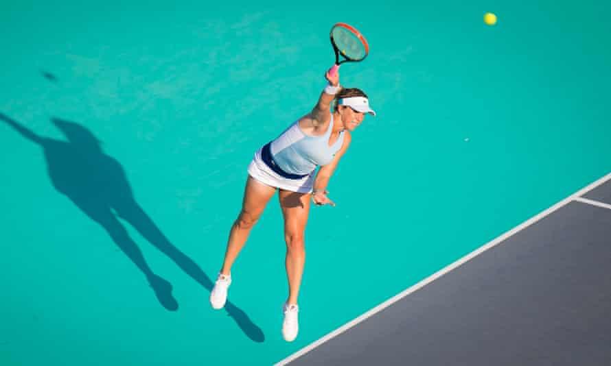 Anastasia Pavlyuchenkova serves in Abu Dhabi