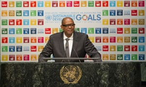 Actor Forest Whitaker addresses world leaders at a sustainable development goals debate at the UN in April 2016.