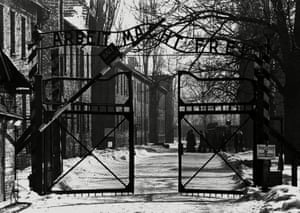 The gate to the Auschwitz death camp, in 1945.