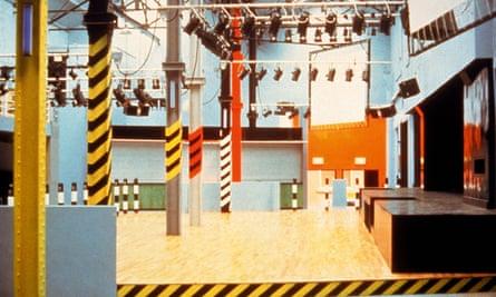Interior view of Haçienda, Manchester, with hazard-marking stripes on the columns.