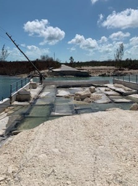 A collapsed bridge in Abaco.
