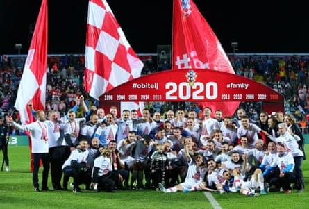 The Croatia squad celebrates qualification