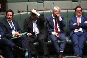 Matt Keogh, Andrew Giles, Pat Conroy and Stephen Jones during question time in the house of representatives in Parliament House Canberra this afternoon.