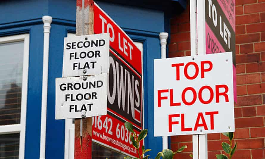 Flats to let signs in Saltburn-by-the-Sea, Cleveland.