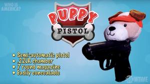 Sacha Baron Cohen's gun-for-kids programme features a 'puppy pistol'