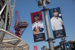 Banners outside the London Stadium showing two of the players who will be in action at the weekend - Boston Red Sox left fielder J.D. Martinez and New York Yankees starting pitcher CC Sabathia.