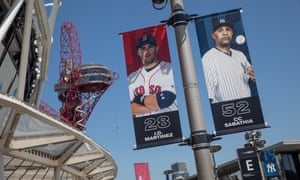 Promotional posters are up outside the London Stadium in Stratford.