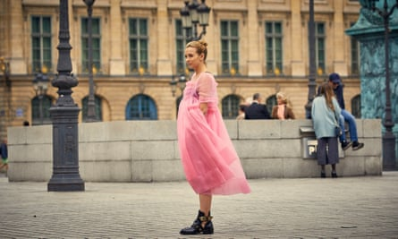 Villanelle in a billowing Molly Goddard gownBalenciaga leather boots.
