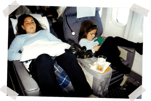 Me, left, and Natalie on an international flight in First Class, late 1990s.