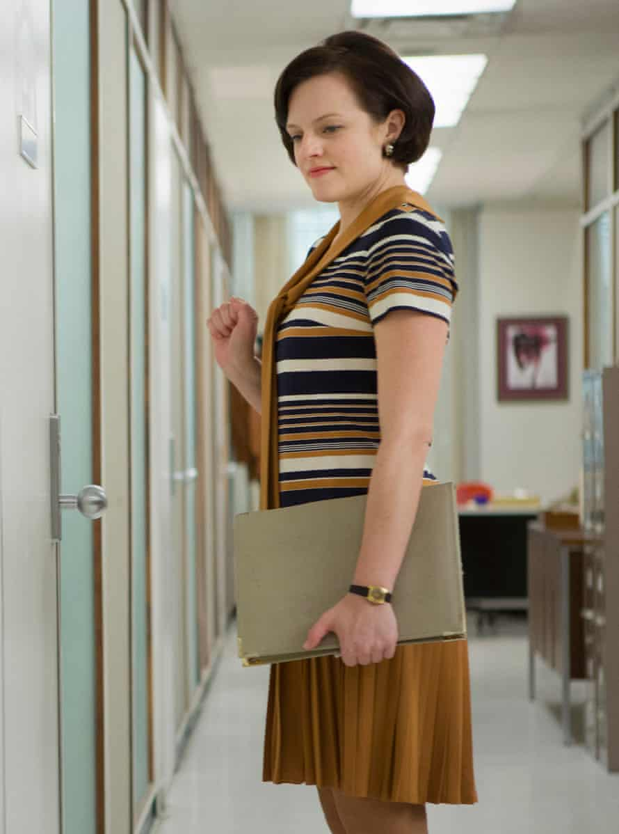 The retro pleat … Elisabeth Moss as Peggy Olson in Mad Men