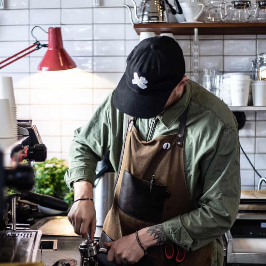 Barista at Kaffebaren på Möllan, Malmo, Sweden.