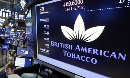 Tighter regulations on the tobacco industry have hit BAT share prices in US too. Above, BAT ticker on a trading floor screen at the New York Stock Exchange.