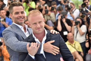 Chris Pine (L) and Ben Foster pose during a photocall for the film Hell or High Water